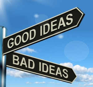 Good Or Bad Ideas Signpost Showing Brainstorming Judging Or Choo