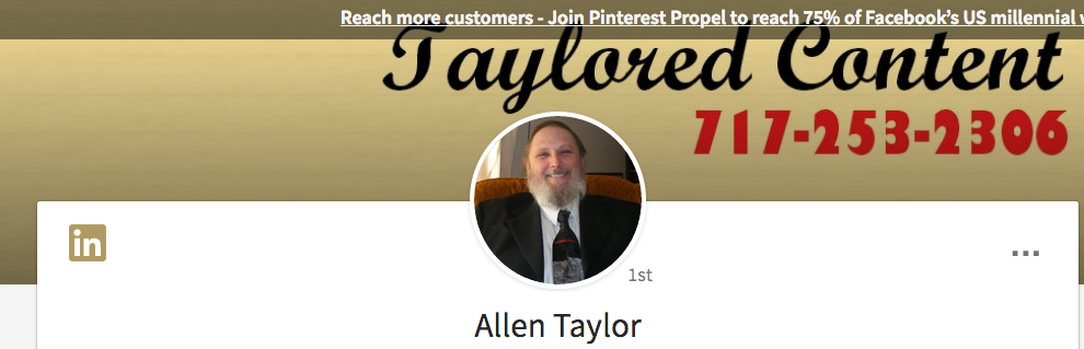 LinkedIn profile tips for freelancers -- Allen Taylor's header